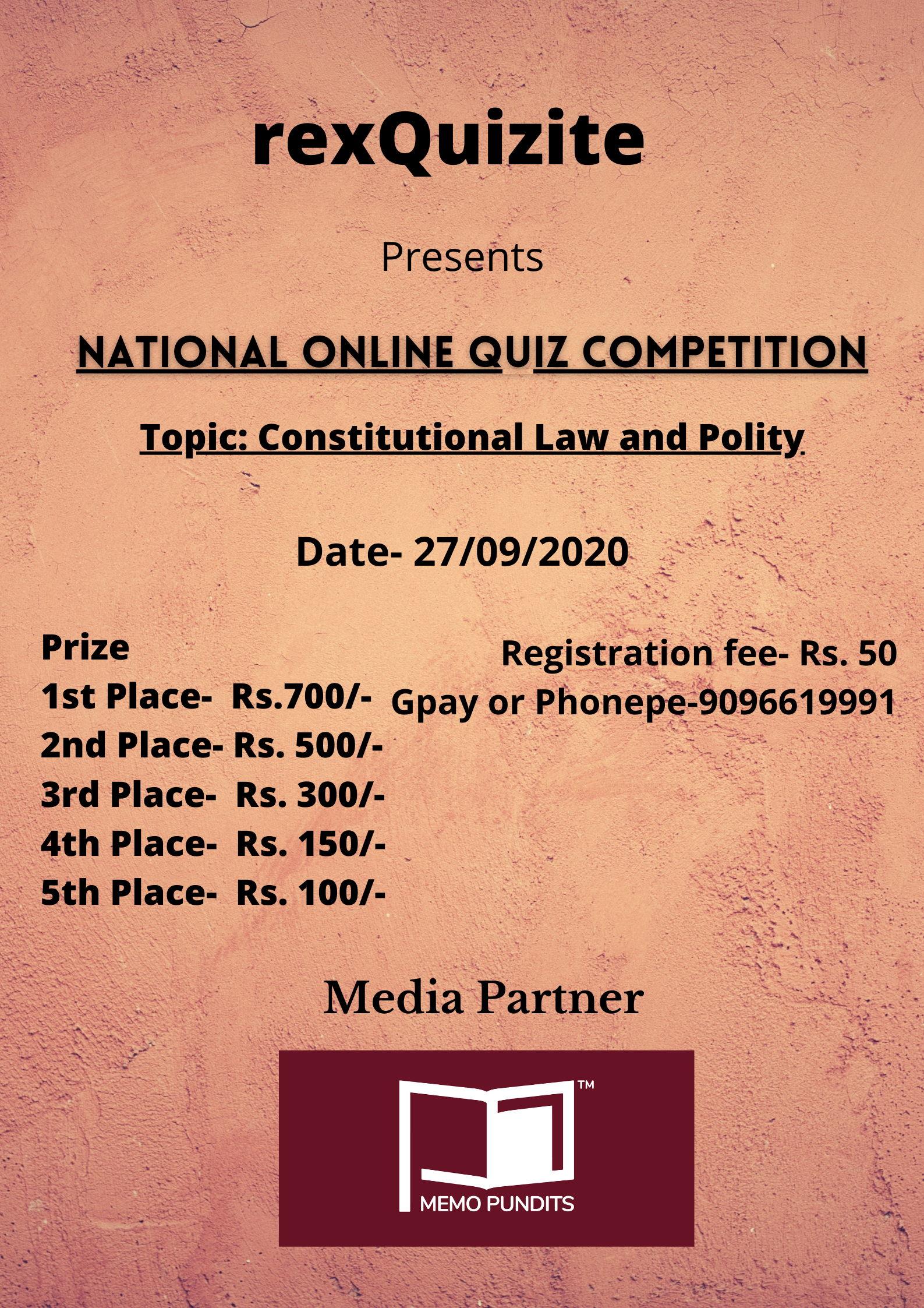 """National Quiz Competition on """"Constitutional Law and Polity"""" by rexQuizite"""