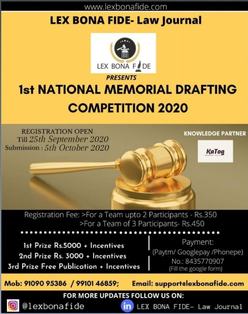 Lex Bona Fide's National Memorial Drafting Competition