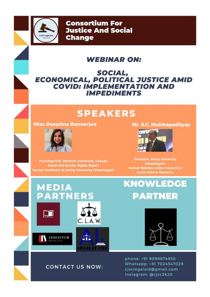 Webinar[FREE] on 'Social, Economic, Political Justice amid COVID Pandemic' by CJSC