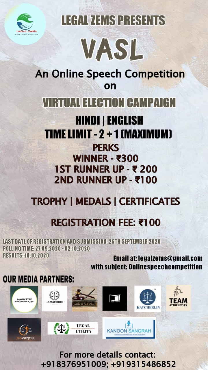 """Online Speech Competition on """"Virtual Election Campaign"""" by Legal Zems"""