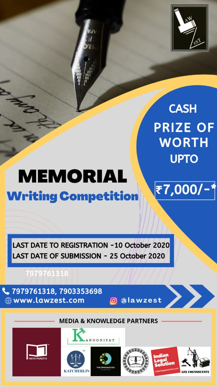 Memorial Writing Competition by Law Zest