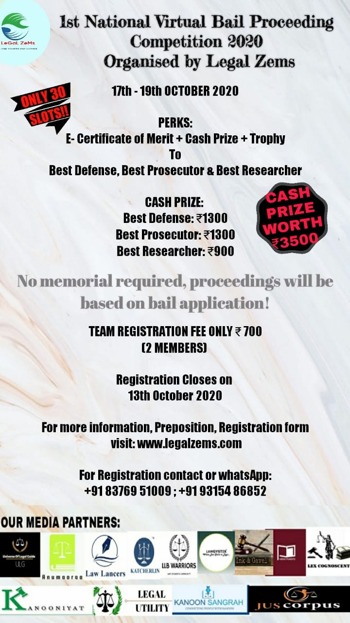 National Virtual Bail Proceeding Competition by Legal Zems