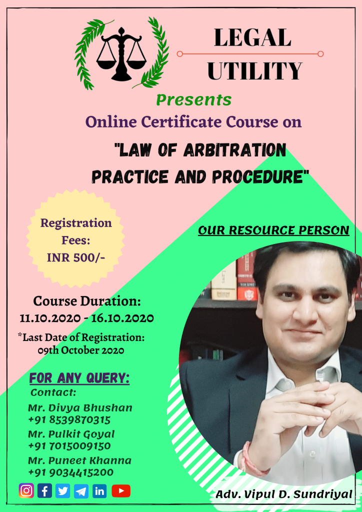 details of webinar on law of arbitration by legal utility