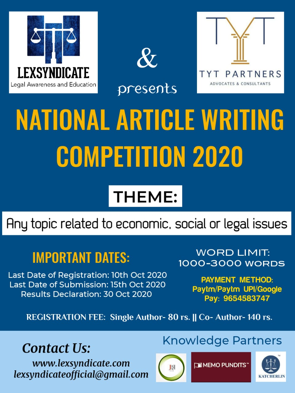 National Article Writing Competition by LEXSYNDICATE