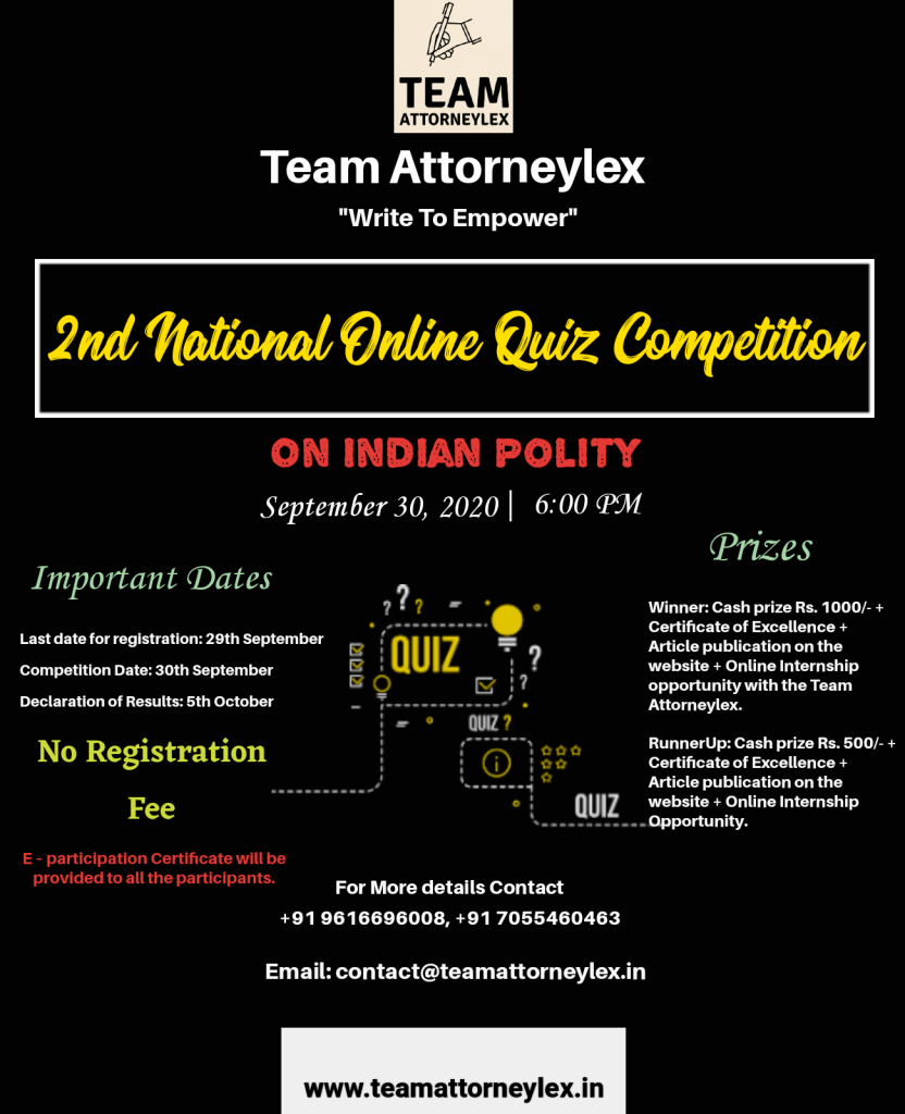 Quiz Competition on Indian Polity [Free] By Team AttorneyLex