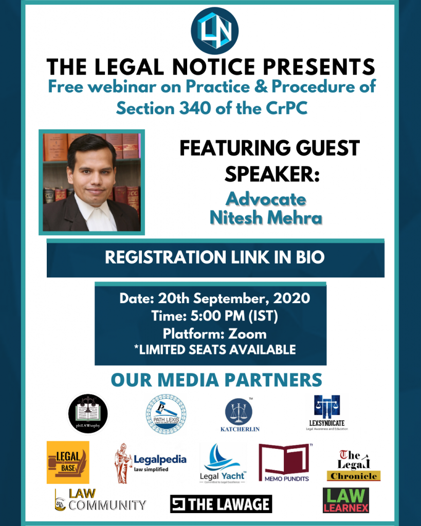 """""""Practice & Procedure of Section 340 of CrPC"""" [FREE] Webinar by The Legal Notice"""
