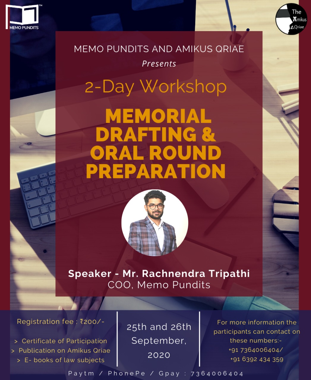 Memorial Drafting and Oral Round Preparation for Moots [2-day Workshop] by Memo Pundits and Amikus Qriae