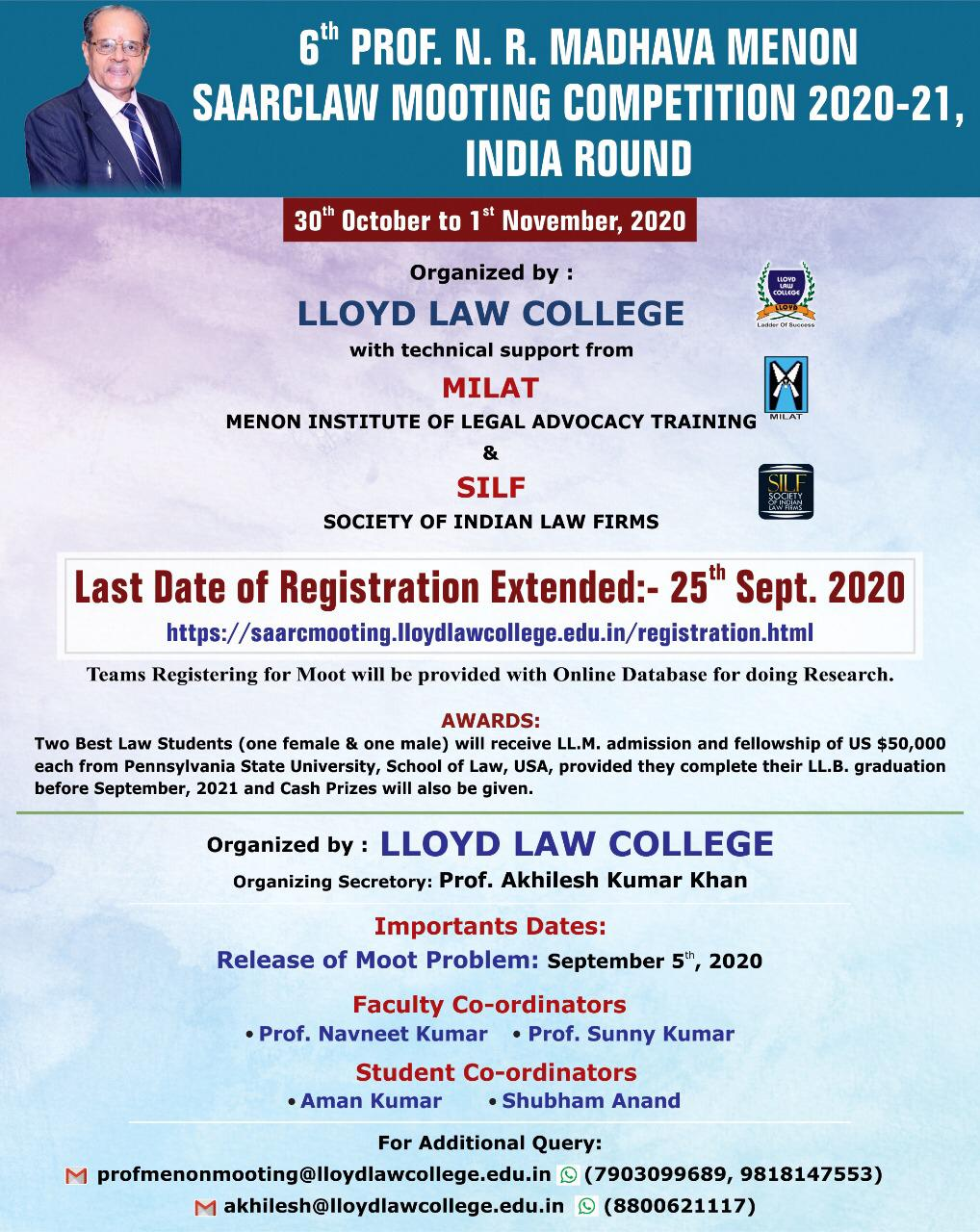 6th Prof. N. R. Madhava Menon SAARCLAW Mooting Competition