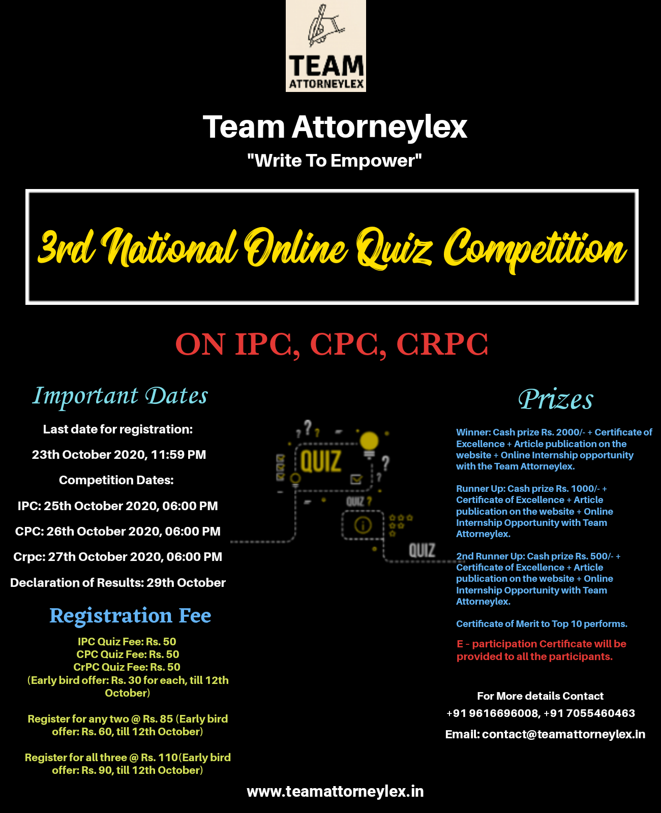 3rd Online National Quiz Competition | Team AttorneyLex: