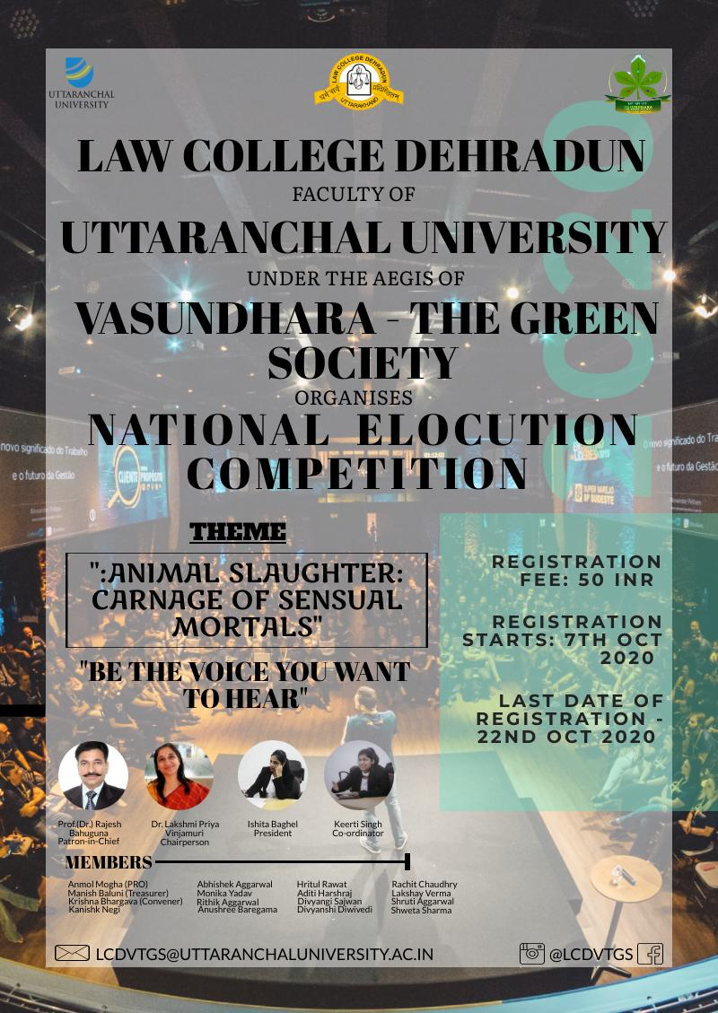 "National Elocution Competition by Vasundhara- The Green Society | ""Animal Slaughter- Carnage of Sensual Mortals"""
