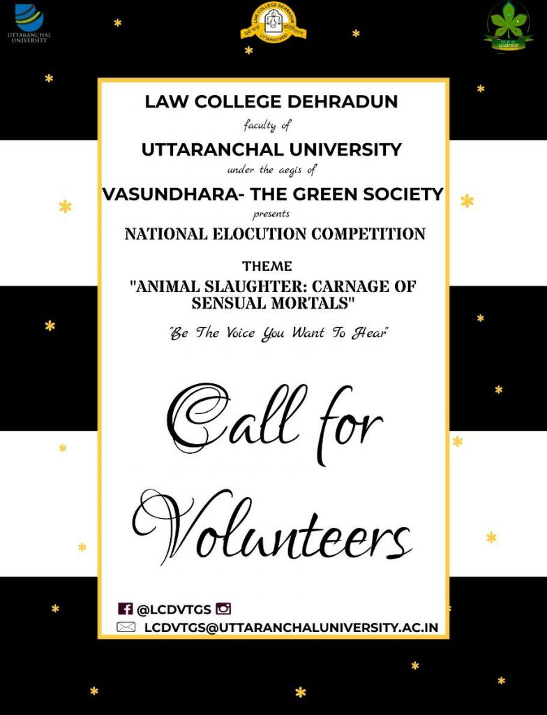 Call for Volunteers by Law College Dehradun