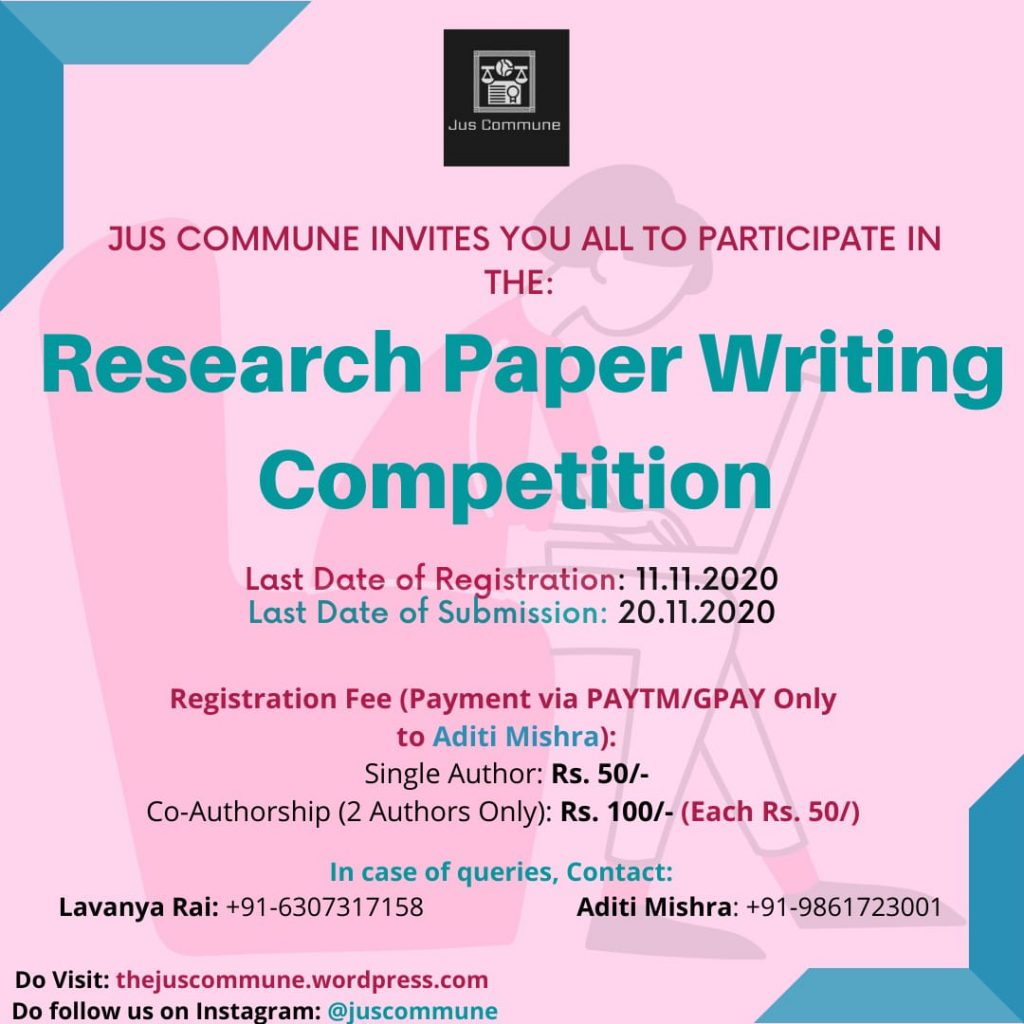Research Paper Writing Competition by Jus Commune