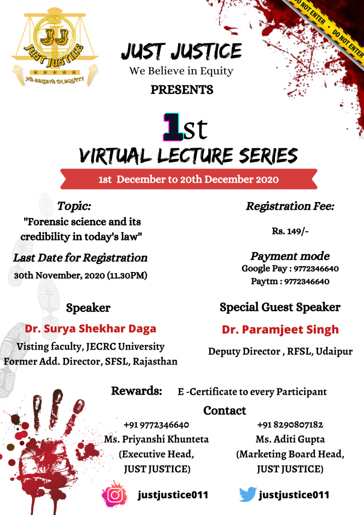 Details of 1st lecture series by Just justice