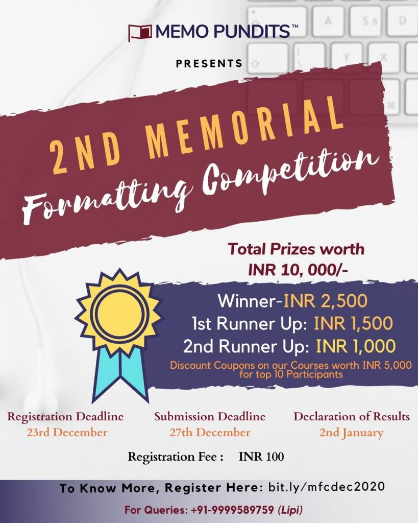 2nd Memorial Formatting Competition 2020