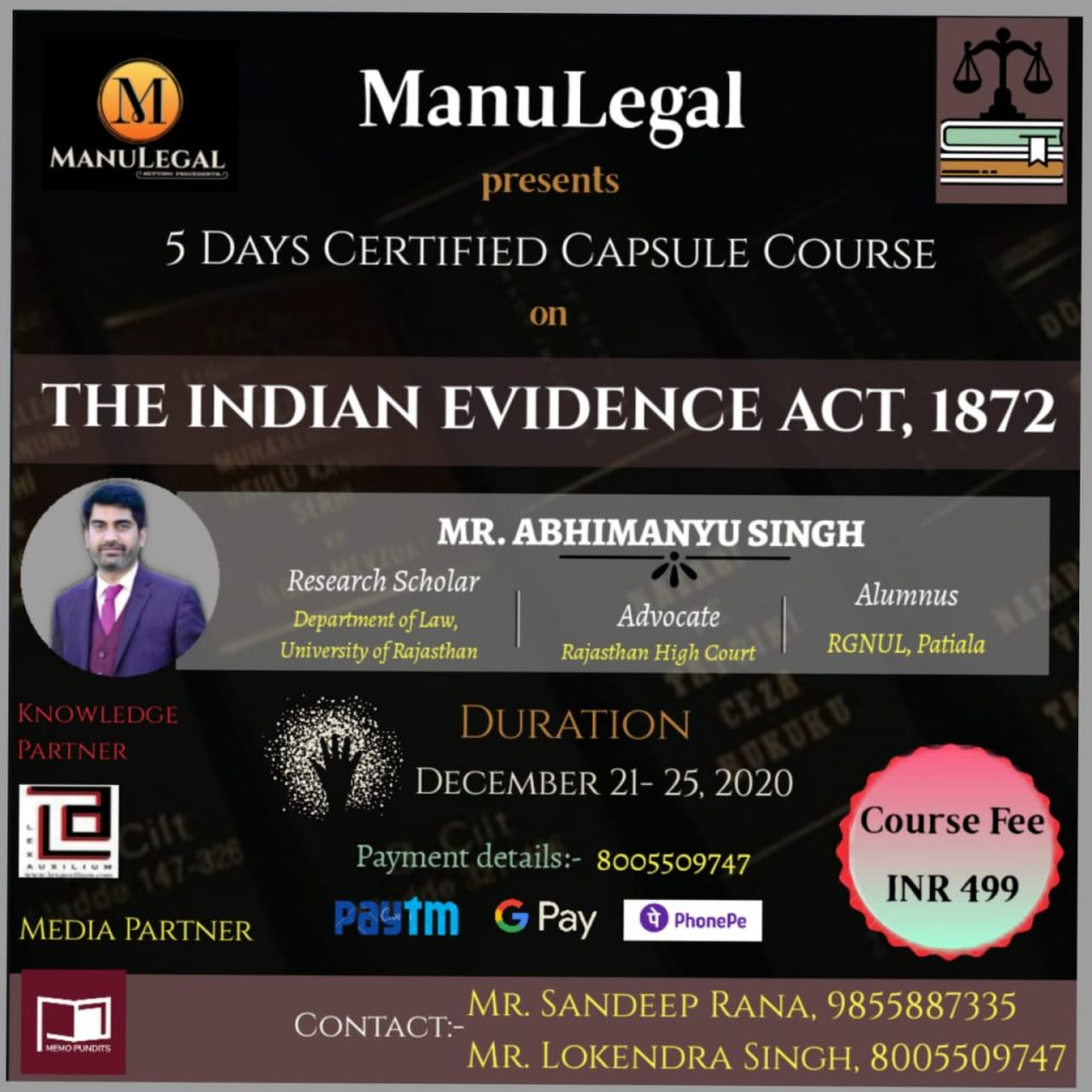 5 Days Certificate Course on The Indian Evidence Act 1872