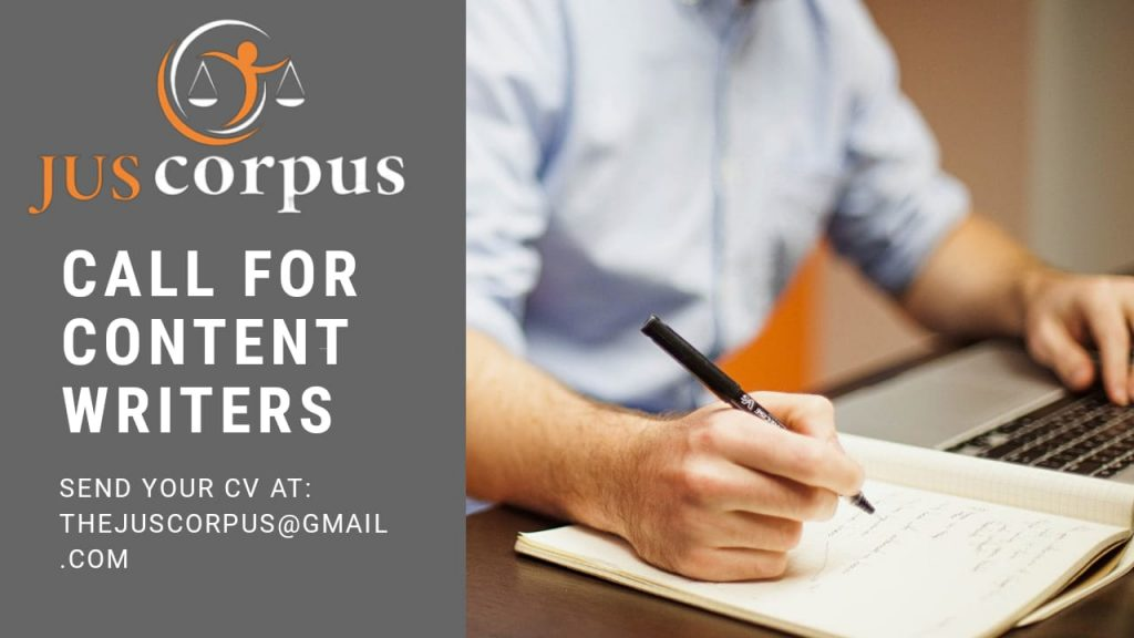Call for Content Writers | Jus Corpus