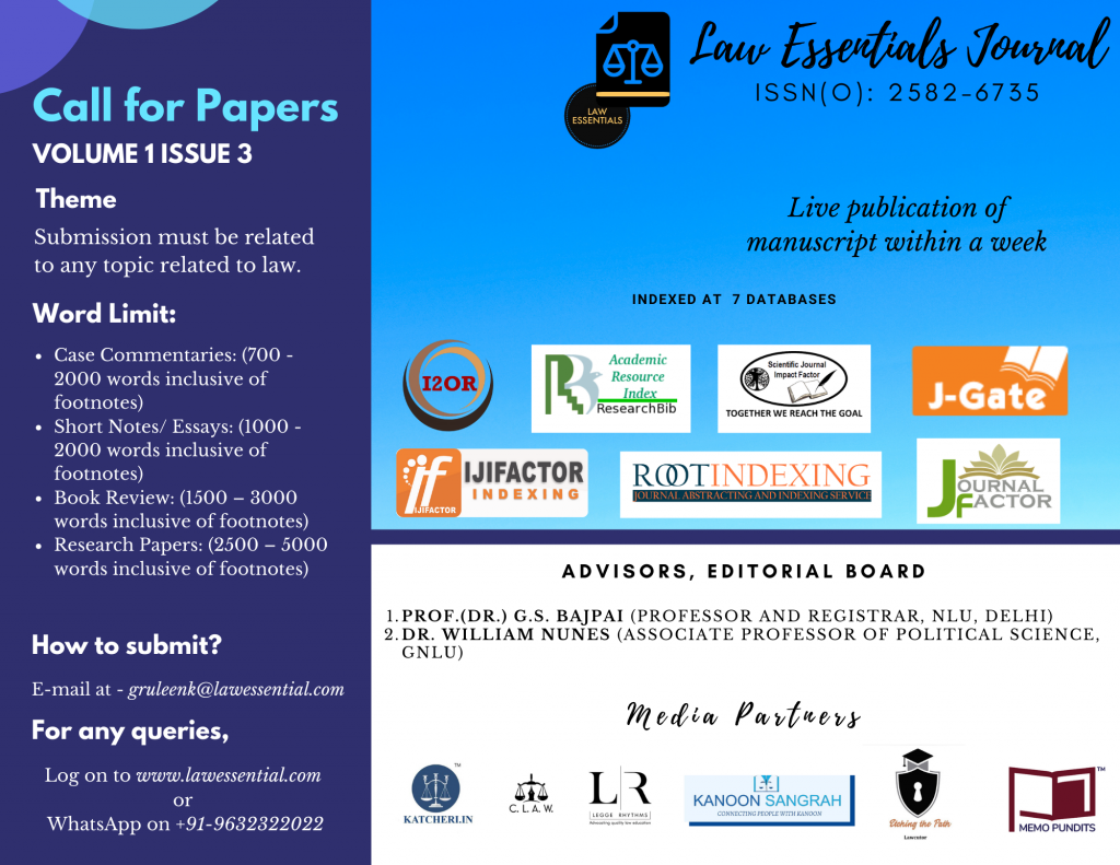Call for Papers by Law Essentials Journal | Volume 1 Issue 3