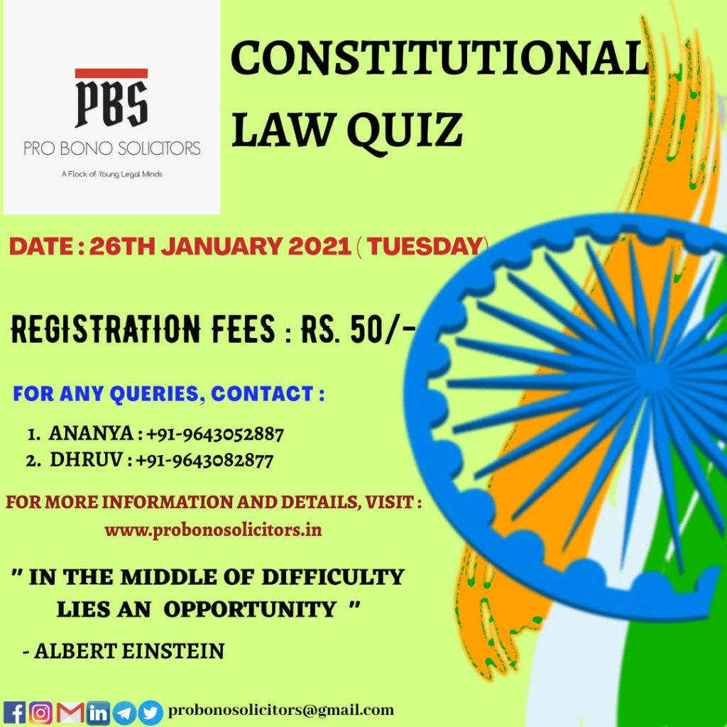 National Quiz Competition on Constitutional Law by Pro bono solicitors
