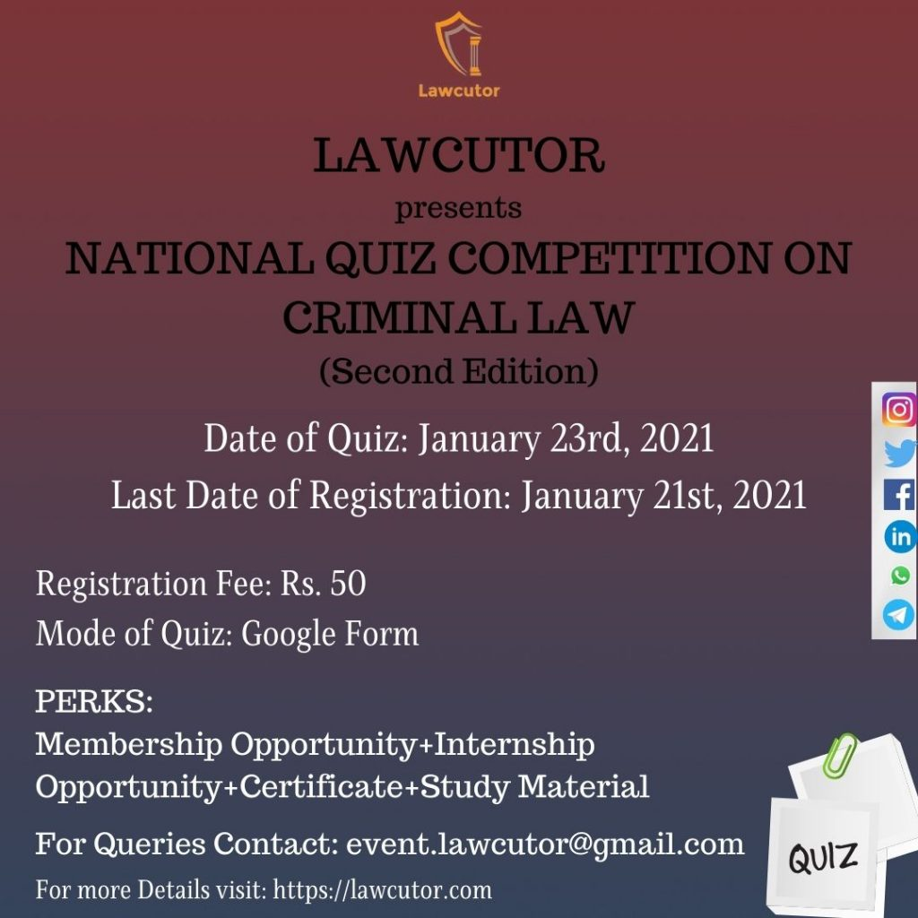 National Quiz Competition on Criminal Law by lawcutor details