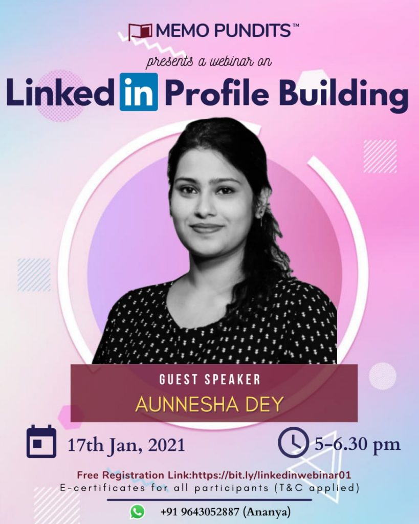 Memo Pundits' Webinar on 'LinkedIn Profile Building'