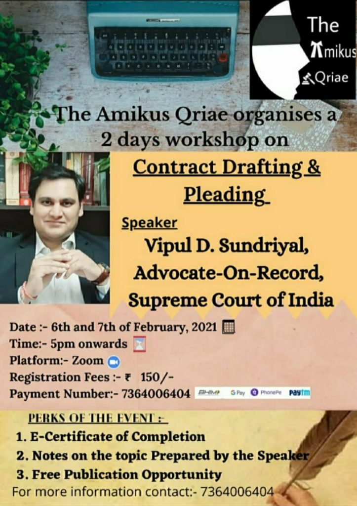"""2 days Workshop on """"Contract Drafting and Pleading"""""""